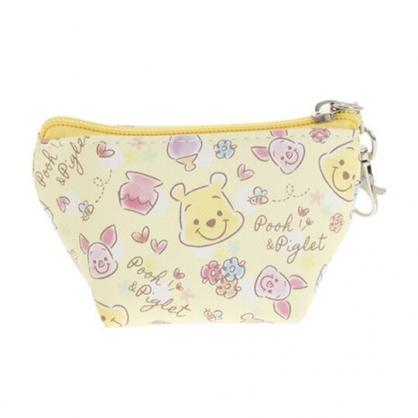 〔小禮堂〕迪士尼 小熊維尼 皮質船形零錢包《黃粉.大臉滿版》耳機包.收納包
