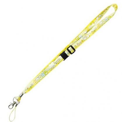 〔小禮堂〕角落生物 多功能頸繩《米黃.戴花圈》掛飾.頸掛繩.證件帶