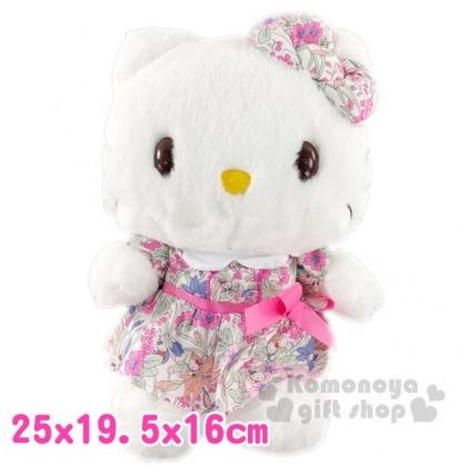 〔小禮堂〕Hello Kitty 絨毛玩偶娃娃《M.粉白花洋裝》擺飾.玩具