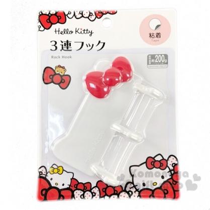 〔小禮堂〕Hello Kitty 造型塑膠三連貼式掛勾《紅白》吊勾.銅板小物