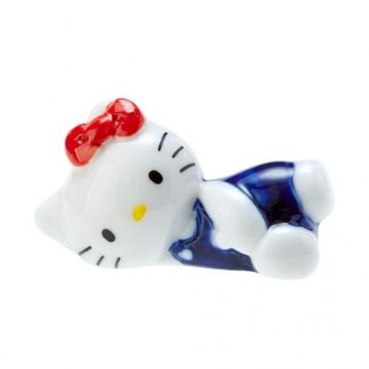 〔小禮堂〕Hello Kitty 造型陶瓷筷架《藍白》筆架.紙鎮.2020新生活系列