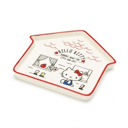 〔小禮堂〕Hello Kitty 房屋造型陶瓷盤《紅白》水果盤.點心盤.2020新生活系列