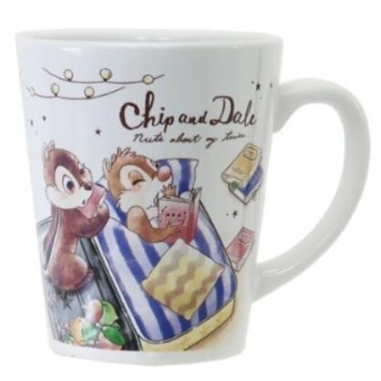 〔小禮堂〕迪士尼 奇奇蒂蒂 陶瓷馬克杯《棕藍.睡覺》茶杯.咖啡杯