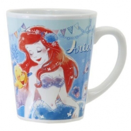 〔小禮堂〕迪士尼 小美人魚  陶瓷馬克杯《綠藍.閉眼》茶杯.咖啡杯