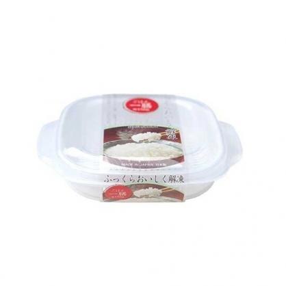 〔小禮堂〕日本NAKAYA 日製方形透明可微波白飯保鮮盒《白》270ml.便當盒.餐盒