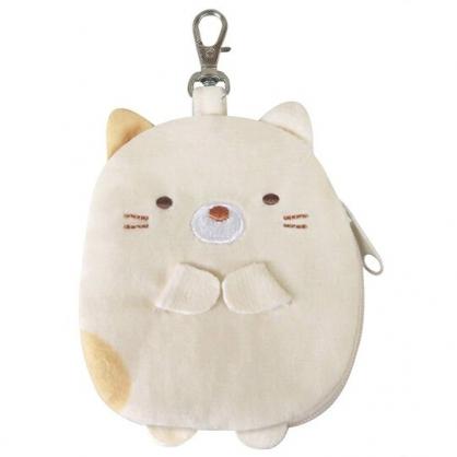 〔小禮堂〕角落生物 貓咪 全身造型絨毛拉鍊吊飾零錢包《黃》掛飾.收納包.耳機包