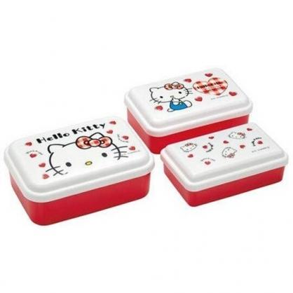 〔小禮堂〕Hello Kitty 日製方形保鮮盒組《3入.紅白.大臉》便當盒.食物盒.餐盒