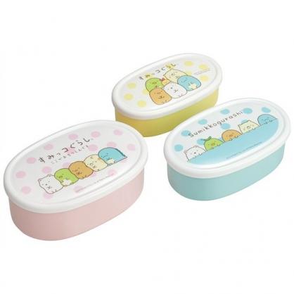 〔小禮堂〕角落生物 日製橢圓形保鮮盒組《3入.粉白.點點》便當盒.食物盒.餐盒