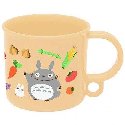 〔小禮堂〕宮崎駿Totoro龍貓 日製單耳塑膠小水杯《米.蔬果》200ml.漱口杯.茶杯