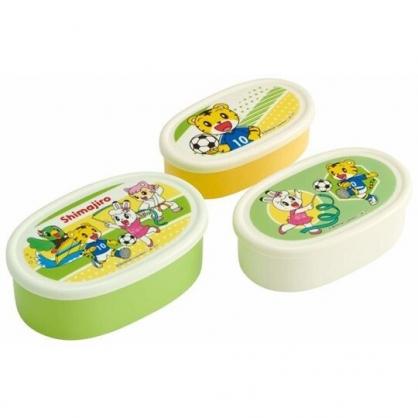 〔小禮堂〕巧虎 日製橢圓形保鮮盒組《3入.綠白.運動》便當盒.食物盒.餐盒