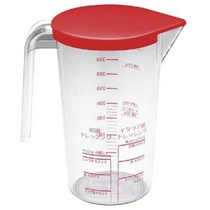 〔小禮堂〕日製單耳透明塑膠量杯附蓋《紅蓋》510ml.烘焙用品