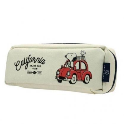 〔小禮堂〕史努比 尼龍拉鍊筆袋《米.坐紅車》收納包.化妝包.鉛筆盒