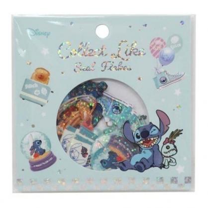 〔小禮堂〕迪士尼 史迪奇 造型鐳射光貼紙組《藍.食物》裝飾貼.黏貼用品