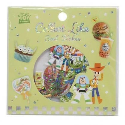 〔小禮堂〕迪士尼 玩具總動員 造型鐳射光貼紙組《綠.食物》裝飾貼.黏貼用品