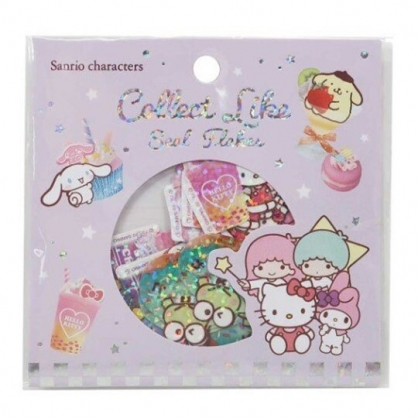 〔小禮堂〕Sanrio大集合 造型鐳射光貼紙組《紫.食物》裝飾貼.黏貼用品