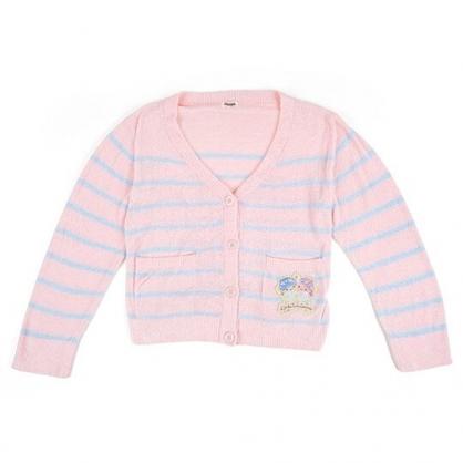 〔小禮堂〕雙子星 休閒雙口袋排扣絨毛外套《粉藍.橫紋》休閒外套.保暖外套