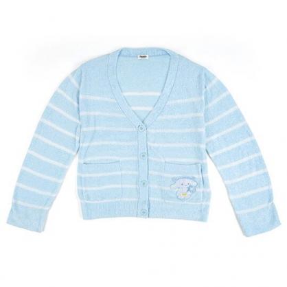 〔小禮堂〕大耳狗 休閒雙口袋排扣絨毛外套《藍白.橫紋》休閒外套.保暖外套