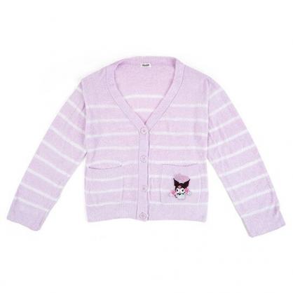〔小禮堂〕酷洛米 休閒雙口袋排扣絨毛外套《紫白.橫紋》休閒外套.保暖外套