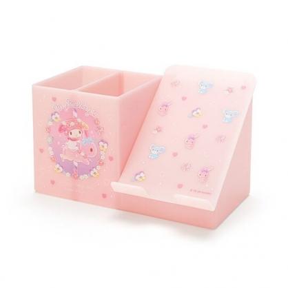 〔小禮堂〕美樂蒂 塑膠手機架筆筒收納盒《粉紫》刷具筒.掀蓋置物盒