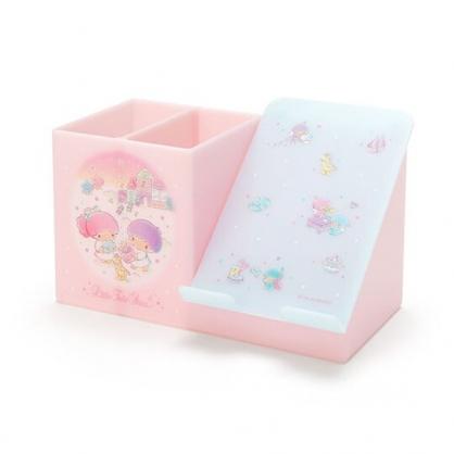 〔小禮堂〕雙子星 塑膠手機架筆筒收納盒《粉綠》刷具筒.掀蓋置物盒
