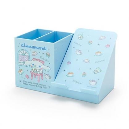 〔小禮堂〕大耳狗 塑膠手機架筆筒收納盒《藍白》刷具筒.掀蓋置物盒
