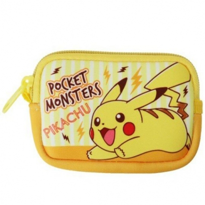 〔小禮堂〕神奇寶貝Pokemon皮卡丘 方形潛水布拉鍊零錢包《黃橘.直紋》收納包.耳機包
