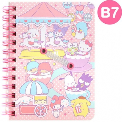 〔小禮堂〕Sanrio大集合 日製左翻線圈橫線筆記本《B7.粉.遊樂園》記事本.手札