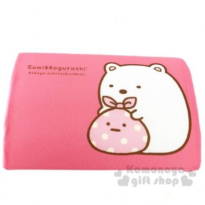 〔小禮堂〕角落生物 北極熊 兒童方形棉質記憶枕《粉.坐姿》枕頭.午睡枕.乳膠枕