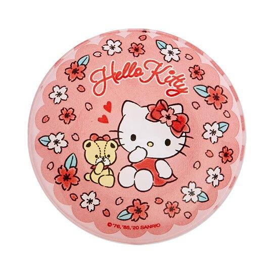〔小禮堂〕Hello Kitty 迷你玻璃圓盤《粉》小菜盤.醬料碟.燦爛櫻花系列