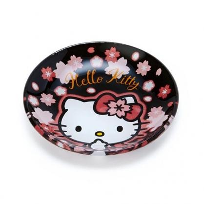 〔小禮堂〕Hello Kitty 迷你玻璃圓盤《黑》小菜盤.醬料碟.燦爛櫻花系列