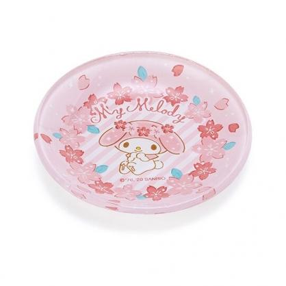 〔小禮堂〕美樂蒂 迷你玻璃圓盤《粉》小菜盤.醬料碟.燦爛櫻花系列