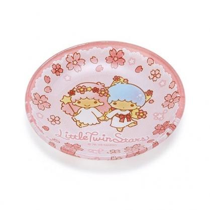 〔小禮堂〕雙子星 迷你玻璃圓盤《粉》小菜盤.醬料碟.燦爛櫻花系列