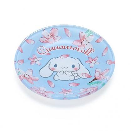 〔小禮堂〕大耳狗 迷你玻璃圓盤《藍》小菜盤.醬料碟.燦爛櫻花系列