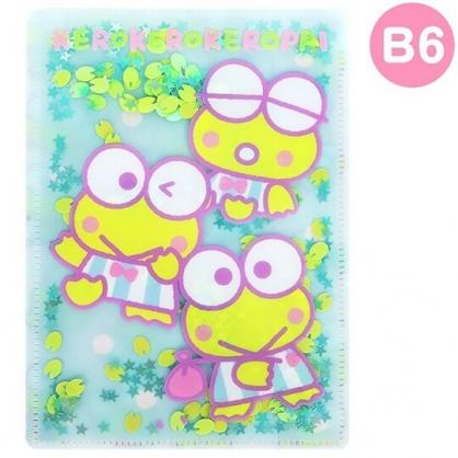 〔小禮堂〕大眼蛙 雙開式文件夾《B6.綠白.亮片流沙》資料夾.L夾.檔案夾