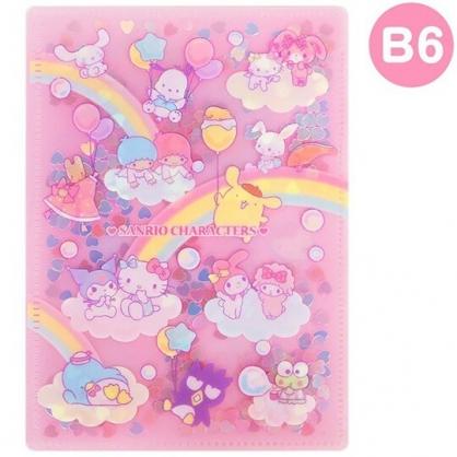 〔小禮堂〕Sanrio大集合 雙開式文件夾《B6.粉黃.亮片流沙》資料夾.L夾.檔案夾