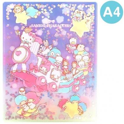 〔小禮堂〕Sanrio大集合 雙開式文件夾《A4.紫黃.亮片流沙》資料夾.L夾.檔案夾