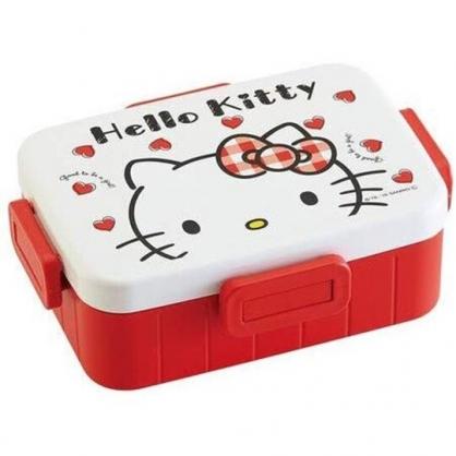 〔小禮堂〕Hello Kitty 日製方形四面扣便當盒《白紅.大臉愛心》650ml.保鮮盒.餐盒