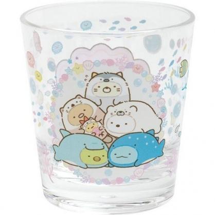 〔小禮堂〕角落生物 日製無把透明塑膠小水杯《白.海底變裝》270ml.漱口杯.塑膠杯