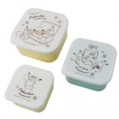 〔小禮堂〕神奇寶貝Pokemon皮卡丘 日製方形保鮮盒組《3入.米黃.提籃裡》便當盒.食物盒.餐盒