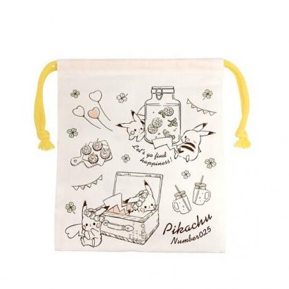 〔小禮堂〕神奇寶貝Pokemon皮卡丘 日製棉質束口袋《白棕.提籃裡》18x21cm.縮口袋.收納袋