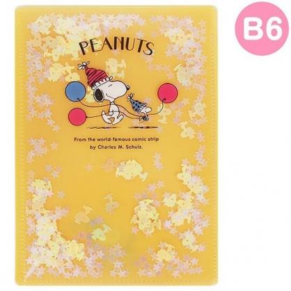 〔小禮堂〕史努比 雙開式文件夾《B6.黃紅.亮片流沙》資料夾.L夾.檔案夾