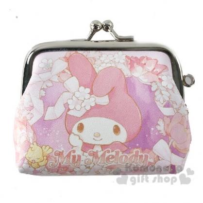 〔小禮堂〕美樂蒂 皮質口金零錢包《粉紫.花朵》掛飾.收納包.耳機包