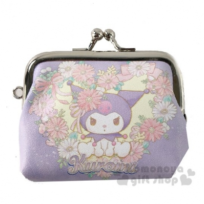 〔小禮堂〕美樂蒂 x 酷洛米 皮質口金零錢包《粉紫.花朵》掛飾.收納包.耳機包