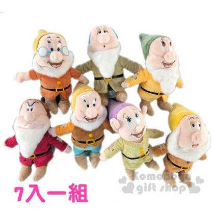 〔小禮堂〕迪士尼 白雪公主 七矮人 迷你絨毛玩偶娃娃組《7入.棕》玩具.擺飾
