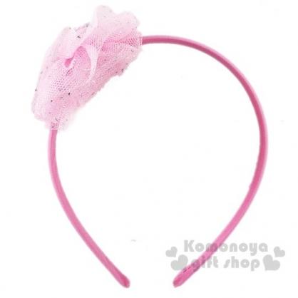 〔小禮堂〕Hello Kitty 兒童紗球蝴蝶結髮箍《粉》頭飾.髮飾