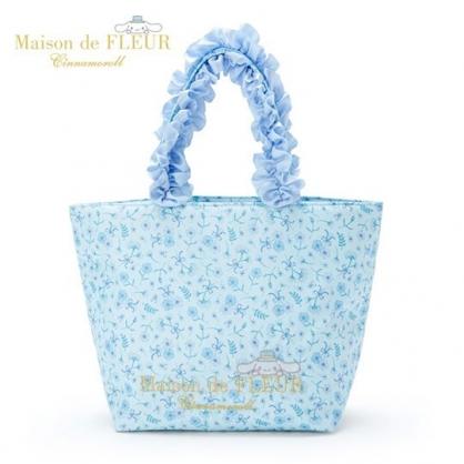〔小禮堂〕大耳狗 x Maison de FLEUR 花邊提把緞面厚棉手提袋《藍》外出袋.便當袋