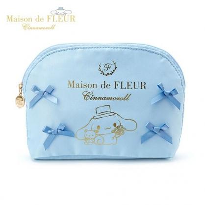 〔小禮堂〕大耳狗 x Maison de FLEUR 蝴蝶結緞面半圓化妝包《藍》收納包.萬用包
