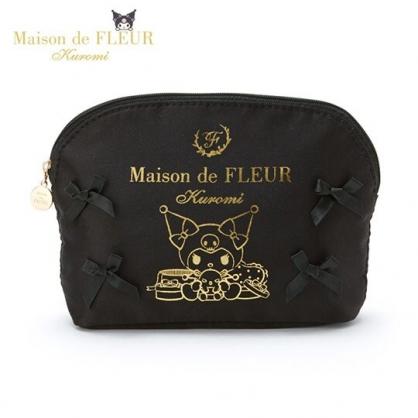 〔小禮堂〕酷洛米 x Maison de FLEUR 蝴蝶結緞面半圓化妝包《黑》收納包.萬用包