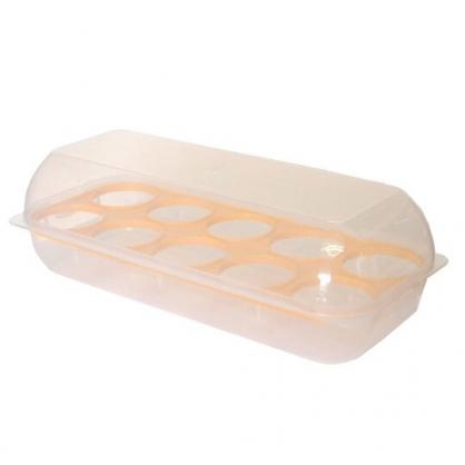 〔小禮堂〕日本SANADA 日製長方形透明拿蓋雞蛋收納盒《白黃》雞蛋架.保鮮盒