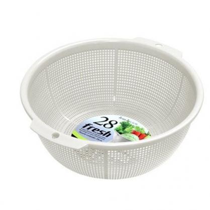 〔小禮堂〕日本SANADA 日製圓形蔬果瀝水籃《白》洗菜籃.蔬果籃